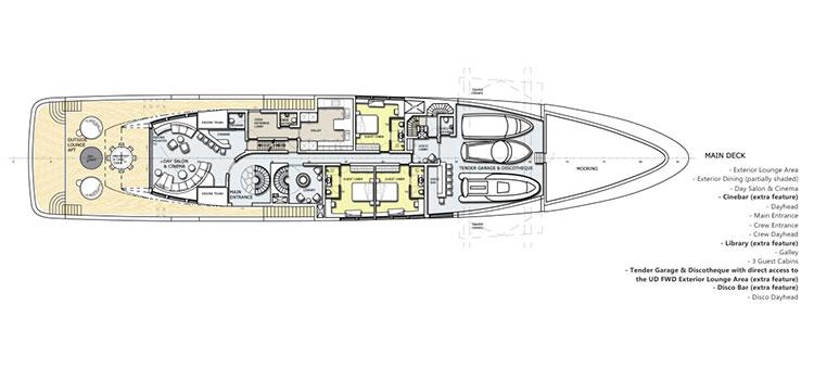 План палуб супер-яхты Анаконда (superyacht Anaconda)