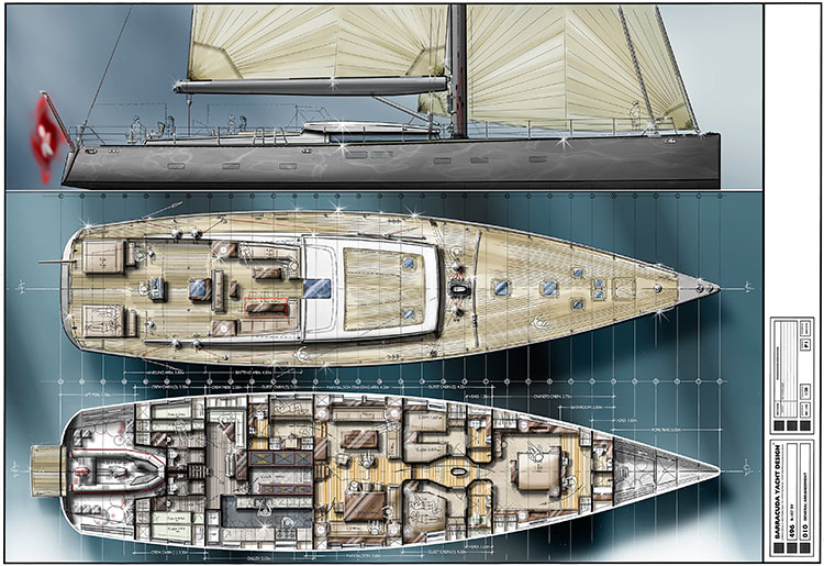 Концепты двух бюджетных парусных супер-яхт от Barracuda Yacht Design
