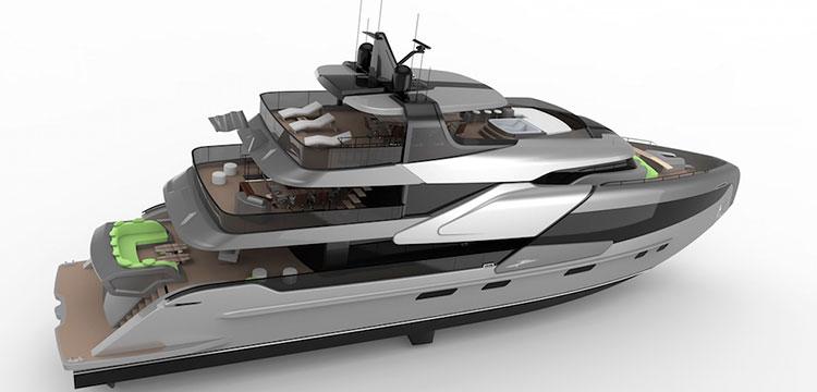 Студия DND Yacht Design из Китая представила концепт ультрасовременной 40-метровой алюминиевой яхты.