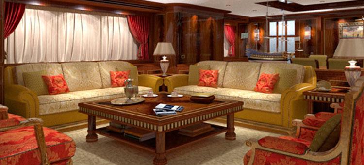 Интерьер супер-яхты Gazzella модели Codecasa 50 Vintage Series