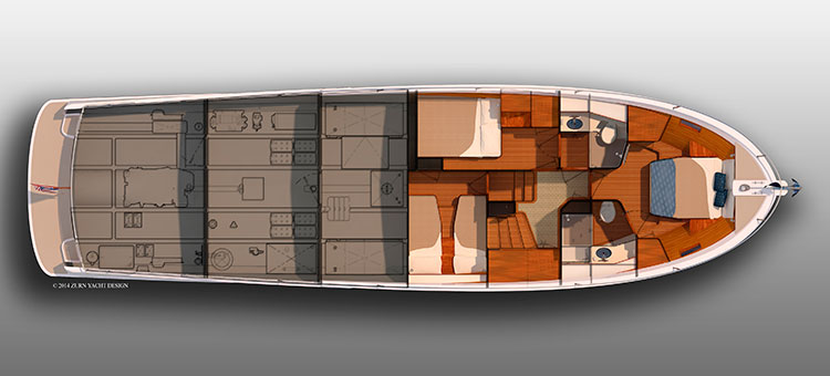 Траулер Duffield-58 (Zurn Yacht Design и Duffy Electric Boat) - план палуб